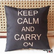 Vintage Cotton Linen Cushion Cover Home Decor Decorative pillow keep calm[Black]
